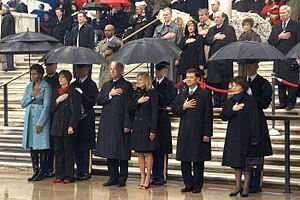 First Lady Michele Obama, far left, stands wit...
