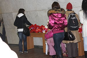 2010 Moscow Metro bombings - Commuters leave flowers at the Lubyanka station