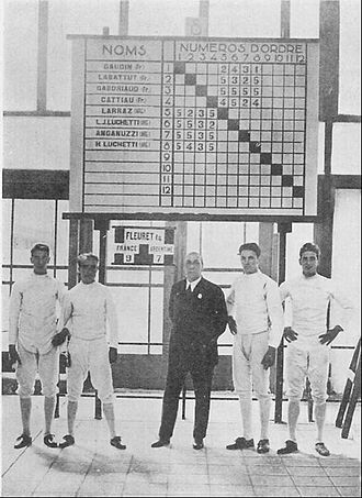 Fencing at the 1928 Summer Olympics - The Argentinian foil team at the 1928 Summer Olympics. They won the bronze medal.