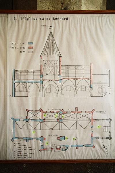 Plan de l'église présenté à l'entrée de l'église Saint-Bernard de Fontaine-lès-Dijon