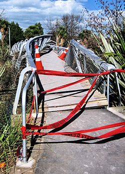 Footbridge over the Avon River, damaged in the 2010 Canterbury earthquake.jpg