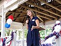 Former state Representative Holly Benson of Pensacola speaking from the gazebo in courthouse square during a Republican rally in Madison, Florida.jpg
