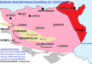 Fossa regia - The Fossa regia marked the border between the original Roman province of Africa and Numidia. East of Fossa Regia (area in red) there was full Latinisation
