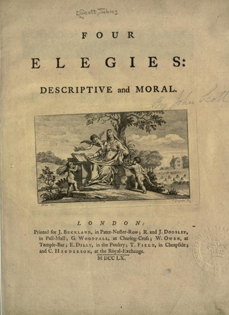 July 1757 heatwave - The cover page of John Scott of Amwell's Four Elegies: Descriptive and Moral published in 1760, Elegy II reflects on the 1757 heat wave.