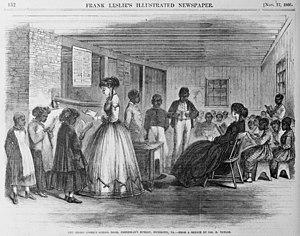 Freedmen's Bureau - The Misses Cooke's school room, Freedman's Bureau, Richmond, Virginia, 1866.