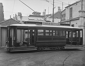 Trams in Fremantle - Tram no 6, c 1930