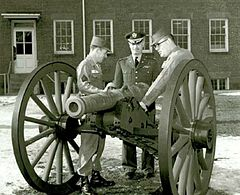 US National Parks Service photo shows an original Canon de 4 de Vallière being examined by three US Army personnel.