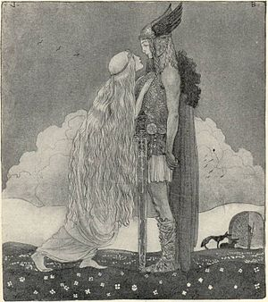 Svipdagr - Freyja and Svipdag illustrated by John Bauer in 1911 for Our Fathers' Godsaga by Viktor Rydberg. Rydberg maintains that Svipdag is another name of Freyja's husband, Óðr.