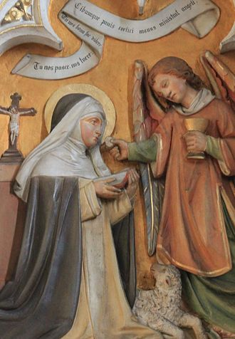 Agnes of Montepulciano - Saint Agnes miraculously receiving the Blessed Sacrament from an angel