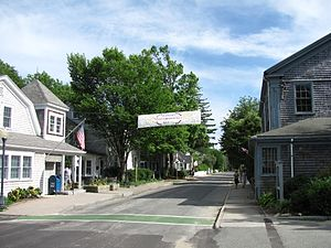 Marion, Massachusetts - Front Street with 4th of July banner
