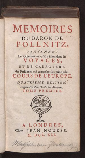 Karl Ludwig von Pöllnitz - Memoires du baron de Pollnitz, 1741