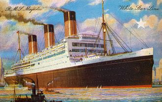 RMS Majestic (1914) - Majestic in a 1922 postcard.