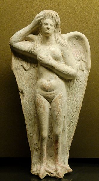 Siren (mythology) - Moaning siren statuette from Myrina, first century BC