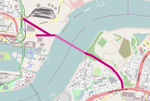 Gallions Reach Crossing - Approximate proposed route of the crossing and connecting roads.