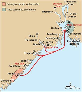 Moss Jernverk - Map of mines used by Moss Jernverk