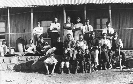 Mohandas K. Gandhi and other residents of Tolstoy Farm, South Africa, 1910 Gandhi Tolstoy Farm.jpg