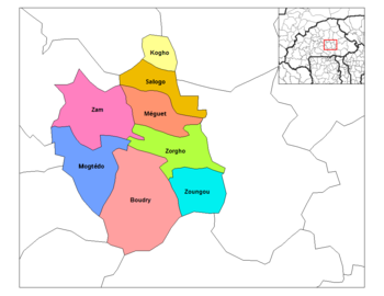 Zoungou Department's location in the province