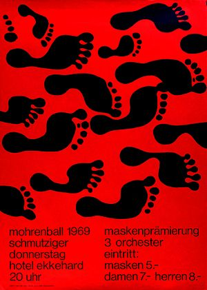Akzidenz-Grotesk - A 1969 poster exemplifying the trend of the 1950s and 60s: solid red colour, simplified images and the use of a grotesque font. This design, by Robert Geisser, appears to use Helvetica.