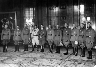 1940 Field Marshal Ceremony - Hitler posing with his field marshals at the ceremony. Göring wears the white uniform.