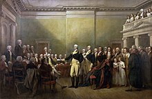 Painting by John Trumbull, depicting General Washington, standing in Maryland State House hall, wearing his military uniform for the last time, surrounded by statesmen and others, resigning his commission