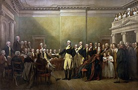 Depiction by John Trumbull of Washington resigning his commission as commander-in-chief.