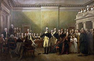 Depiction by John Trumbull of Washington resigning his commission as commander-in-chief