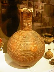 Swastika on geometric pottery, National Archaeological Museum of Athens.