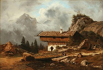 Georg Emil Libert - Alpine Scene with Cabin