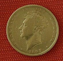 Sovereign (1 Pfund) Goldmünze von 1827, hier wurde nun der Vierte nicht mehr wie oben als IIII, sondern wie üblich als IV geprägt (Quelle: Wikimedia)