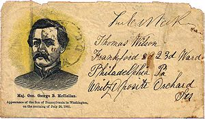 George B. McClellan - Patriotic cover honoring the arrival of Maj. Gen. George B. McClellan in Washington, D.C., on July 26, 1861