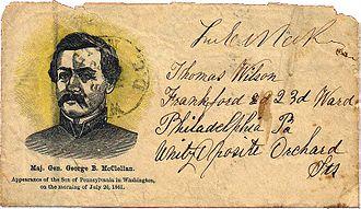 George B. McClellan - Patriotic cover honoring the arrival of Maj. Gen. George B. McClellan in Washington, D.C., on July 26, 1861