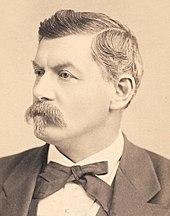Head and shoulders profile of a mustachioed man, a stern look, hair fading in color.