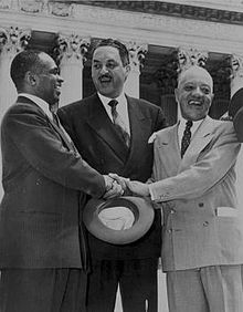 George Edward Chalmer Hayes, Thurgood Marshall, and James Nabrit in 1954 winning Brown case.jpg