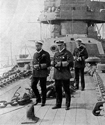 King George V (left) inspects HMS Neptune George V and Admiral Callaghan onboard HMS Iron Duke.jpg