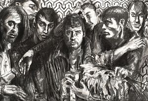 Boys without Toys charcoal on canvas by Irish artist Gerard Byrne, 2014