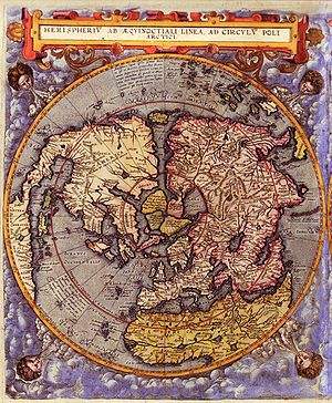 Gerard de Jode - Map of the Northern hemisphere. Color print from copper engraving (printer Arnold Coninx). Antwerp 1593