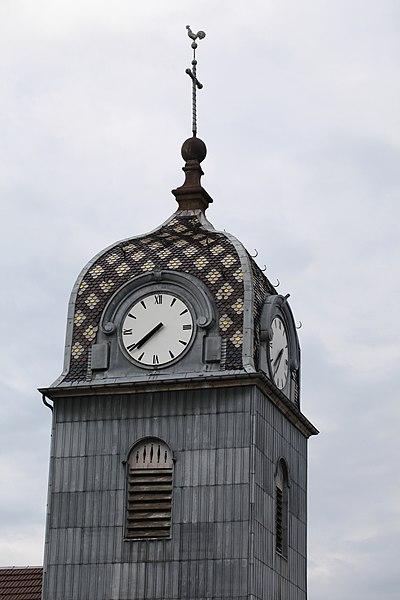 Clocher de l'église de Gevresin (Doubs).