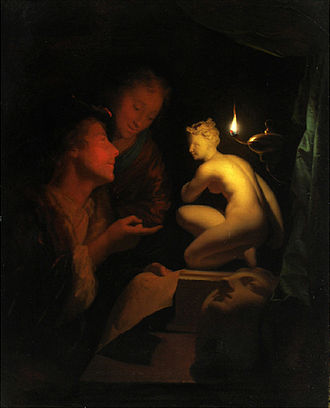 An Experiment on a Bird in the Air Pump - Candlelit scene by Godfried Schalcken