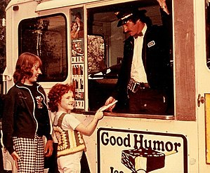 Good Humor - Good Humor vendor with an inside sales car, c. 1975