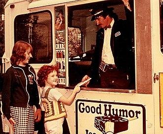 Good Humor - Good Humor vendor with an inside sales car, c. 1975