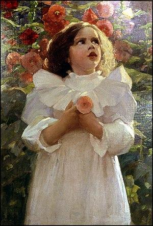 Spencer Baird Nichols - Grandmother's Garden: an early oil on canvas by Spencer Baird Nichols.