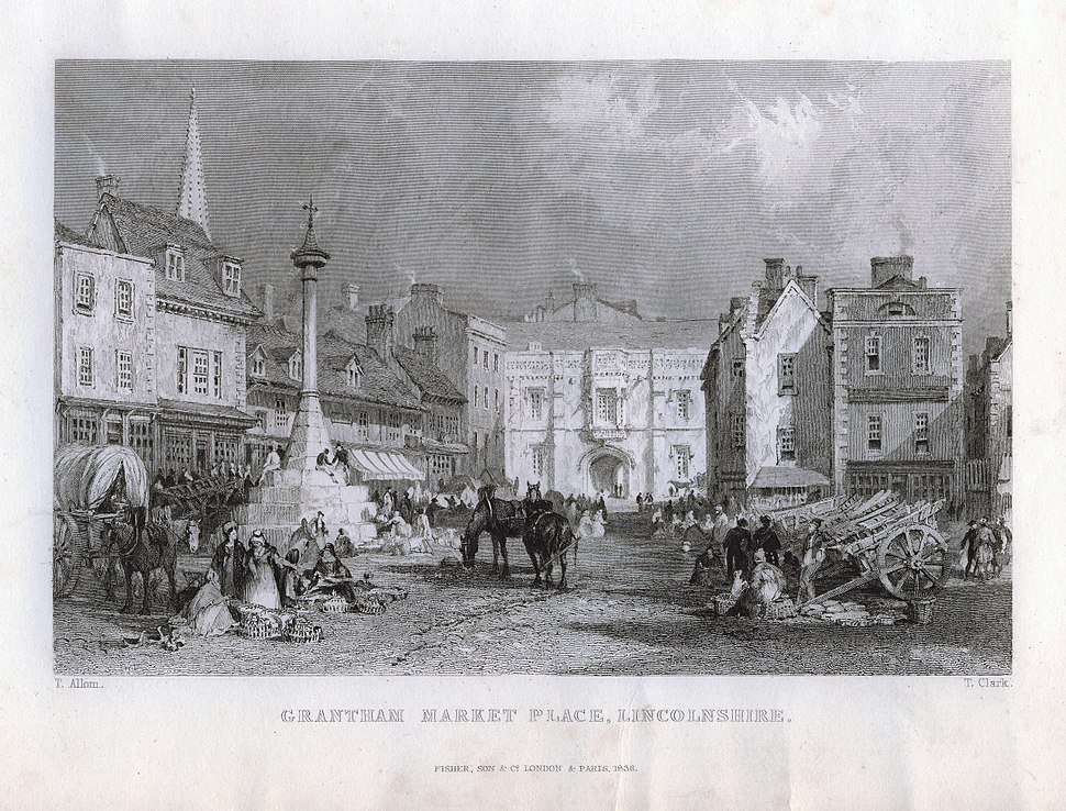 Grantham Market Place with Angel and Royal Hotel, Lincolnshire, England 1836