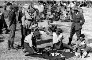 Granville Ryrie - Ryrie conducting an informal inspection of Australian light horsemen on 9 April 1918, following the first Transjordan attack on Amman