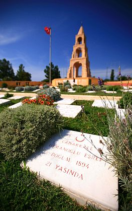 Turkish battlefield monument and cemetery at Gallipoli Grave at Gallipoli.jpg