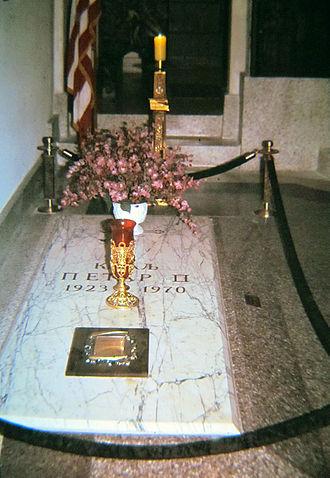 Peter II of Yugoslavia - Image: Grave of King Peter II at the St. Sava Monastery Church at Libertyville, 1987