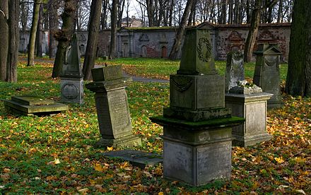 Some better preserved tombstones in Riga's Great Cemetery. Great Cemetery Riga 02.jpg