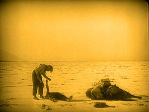 Greed (film) - The Death Valley scenes, including this final sequence, were filmed over two months during midsummer, in harsh conditions.