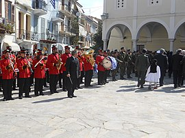 Band in a parade on 25 March Greek Independence Day (5987157562).jpg