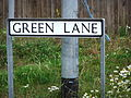 Green Lane sign (off Tritton Road), Lincoln, England - DSCF1562.JPG