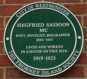 Siegfried Sassoon - Green plaque on the site of Sassoon's former home in Tufton Street, Westminster, London